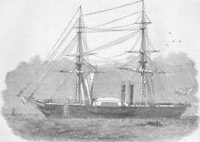 ITALY. War-ship Governole, built for Sardinian Govt, antique print, 1850