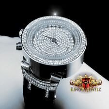 Mens 14k White Gold Finish Lab Diamond Iced Out Silicon Strap Jojo Jojino Watch