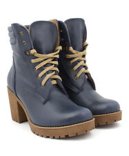 ZAPATO Blue Lace-Up Chunky-Heel Leather Ankle Boots Size 40 (NEW)
