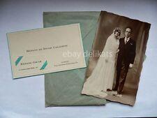 Vecchia foto MATRIMONIO Renato Ester Casalotti La Spezia 1930 Firenze biglietto