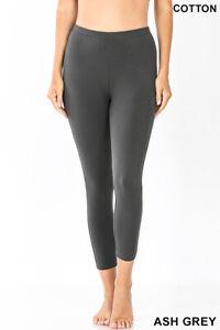 Zenana Capri Cropped Leggings Yoga Pants Cotton Stretch S-XL Plus 1X-3X  #1875