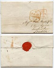 IRELAND 1844 SQUARE PAID to LONDON + TOMBSTONE V 1d PAID