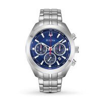 Bulova Men's Quartz Chronograph Blue Dial Silver-Tone 44.5mm Watch 96B285