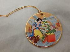 Grolier Disney Round Porcelain Christmas Ornament Tis The Season Snow White
