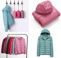 Womens Winter Duck Down Jackets Hooded Coats Warm Puffer Outerwear Urltra-Light