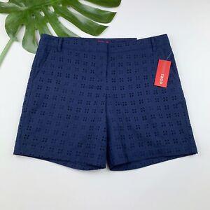 New IZOD Shorts Womens Size 12 Eyelet Dark Blue Lined Casual NWT