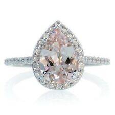 2Ct Pear Cut Morganite Simulnt Diamond Halo Solitaire Ring White Gold Fns Silver