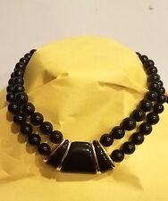 VINTAGE NAPIER NECKLACE Signed Massive Egyptian Lucite BLACK GOLD Runway