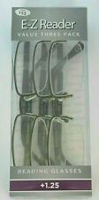 3 pairs (ONE 3 pack) Foster Grant Reading Glasses PETER Brown +1.25  NEW!