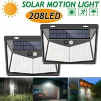 208LED Solar Powered PIR Motion Sensor Light Security Wall Light Out Door Garden