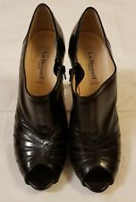 LK Bennett Black Leather Peep Toe High Heels With Unique Design  UK 5 EUR 38