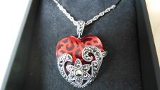 Marcasite Garnet Color Glass Heart Pendant  Necklace 925 Sterling Silver New!