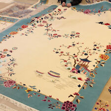 YILONG 8'x11' Floral Handmade Wool Carpet Chinese Art Deco Traditional Area Rug