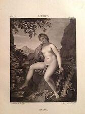 DIANA DEA DELLA CACCIA Mitologia romana Incisione originale XIX secolo
