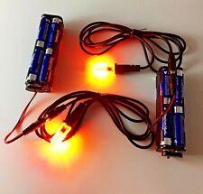 2 pcs orange flame color LED light 1 watt 5 foot cable 12 volt battery holder