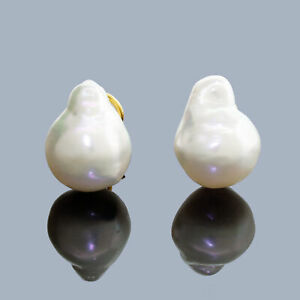 18k Gold South Sea Baroque Pearl Clip Earrings Omega Back Amazing Color Luster