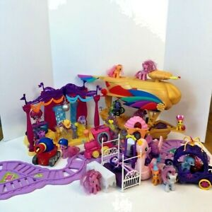 My Little Pony Huge Lot Airship Bedroom Dance Floor Train 19 Poines 2 Dolls