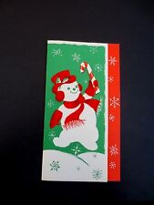 Vintage Unused Flocked Xmas Greeting Card Jolly Snowman in Top Hat & Candy Cane