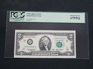 2003A- $2 FEDERAL RESERVE- KANSAS -CUT WITH OVER SIZED - PCGS -SUPER GEM NEW 67