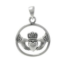 """STERLING SILVER 925 CLADDAGH NECKLACE 18"""" / 20"""" STERLING SILVER CHAIN"""