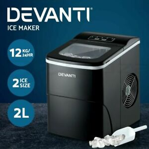 Devanti Portable Ice Maker Commercial Machine Ice Cube 2L Bar Countertop Black