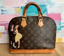 $1500 LOUIS VUITTON Alma PM Brown Monogram Canvas Painted Art Custom Satchel Bag