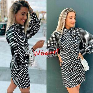 Zara Black Printed Polka Dot Puff Sleeve Dress 2021 Size XL 14