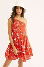 Free People All Mine Mini Dress One Shoulder Linen Xs Floral Orange Red $128