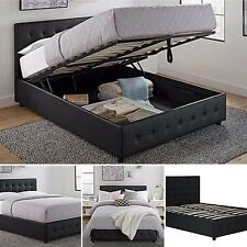 Queen Size Bed Frame With Shoe Storage Tufted Headboard Leather Black Platform