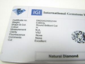 PLATINUM IGI  Certified Luxury 0.80ct   Heavy Diamond Ring,  7.9GRams $4600