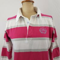 Wrangler Womens Polo Top SZ 8 Pink White Grey Striped Rugby Embroidery Western