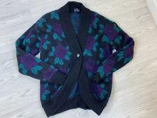 C&A Vintage Mohair Blend Black Floral Cardigan  16/18 1980s