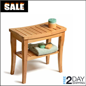 Teak Shower Bench Shelf Bath Seat Chair Wood Spa Indoor Outdoor Salon Bathroom