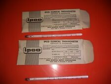 Vintage Glass  Fever Thermometer Lot of 2 IPCO Temperature Medical NOS