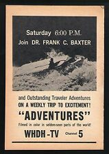 "1966 WHDH tv ad ~ Dr.Frank C Baxter Hosts ""Adventures"" Boston,Massachusetts"