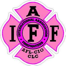 4 Inch Reflective IAFF Pink Maltese Cross Female Firefighter Sticker Decal