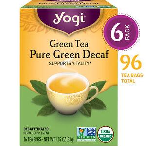 Yogi Tea - Green Tea Pure Green Decaf - Supports Vitality - 6 Pack, 96 Tea Bags