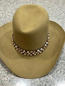 Vtg Western Resistoln Light Brown Cowboy Western Tall Hat size 7 3/8  with band