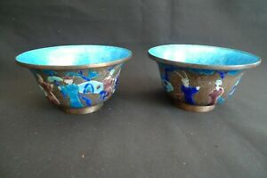 VINTAGE CHINESE BLUE ENAMELED BOWLS ON COPPER SET OF 2 PAIR EXCELLENT CONDITION