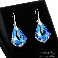 925 Silver Earrings/Set *CRYSTAL BLUE AB* Baroque Crystals from Swarovski®