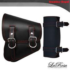 La Rosa Harley Softail Black Leather Red Stitch Left Saddle Bag + Front Tool Bag