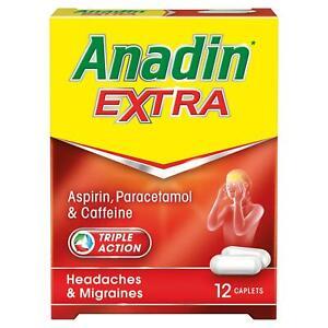 12 ANADIN EXTRA QUICK ACTING ASPIRIN PARACETAMOL CAFFEINE HEADACHES & MIGRAINES
