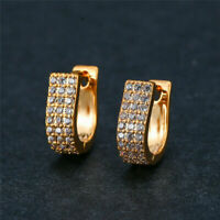 Delicate 2Ct Round Cut VVS1 Moissanite Huggie Hoop Earrings 14K Yellow Gold Over