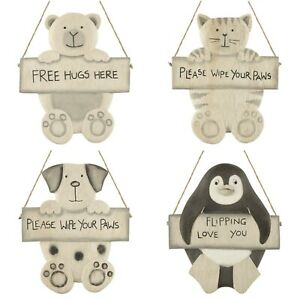 East of India Wipe Your Paws Free Hugs Hanging Sign Decoration Cat Dog Bear Gift