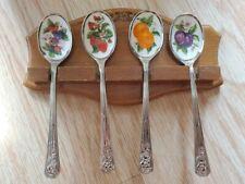 Vintage Avon set of 4 Stainless Steel and Enamel Fruit Jelly Spoons Wood Display