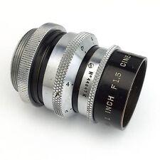 Wollensak Cine Velostigmat 1Inch (25mm) f/1.5 C-Mount Lens For 16mm Bolex BMPCC