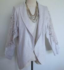 Soft Surroundings Open Knit Jacket Cardigan M Lace Cutout Applique Oatmeal Beige