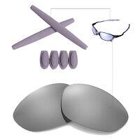 Walleva Titanium Ti Polarized lenses w earsocks T-shocks for Oakley X-Metal-XX