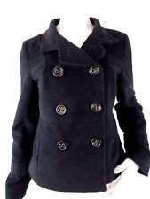 Tulle Womens Coat Black Short Double Breasted Pea Coat Poly Small