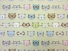CATS IN GLASSES MULTI G40 CURTAIN FURNISHING FABRIC 100% COTTON  KIDS CHILDRENS